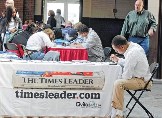 Bill Tarutis | For The Times Leader Nearly 1,000 job hunters attended the Times Leader's Fall Career Fair at the 109th Field Artillery Armory in Wilkes-Barre last year.
