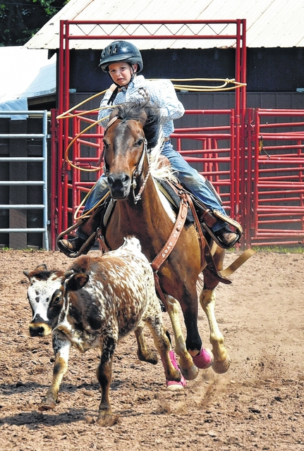4f785666564 Kace Hollenbach competes in the breakaway calf roping during the Keystone  Junior Rodeo Association contest Sunday