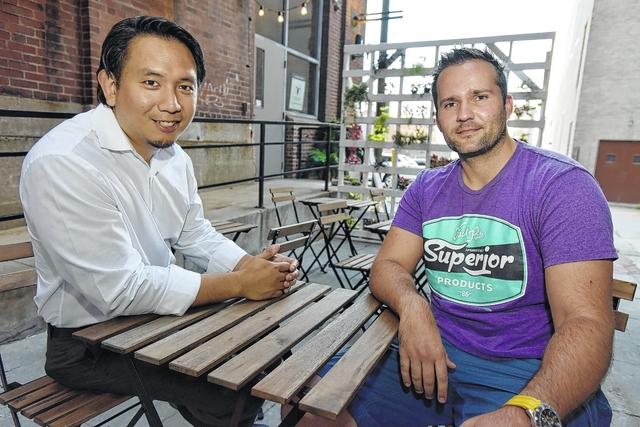 Robert Paulino, left, and Pedja Grujic team members at Adezzo Coffee Shop & Lounge in center city Scranton.