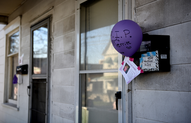 Laurie Merritt was a popular postal carrier and people along her route who could not attend the memorial walk Friday night showed their support by hanging balloons on their mailboxes.