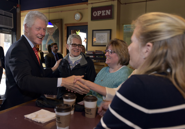 Former president urges voters to elect the best change maker from left lyn blewitt of dunmore judy reesey of scranton and regina aposhian of dunmore at the northern lights espresso bar in scranton aloadofball Choice Image