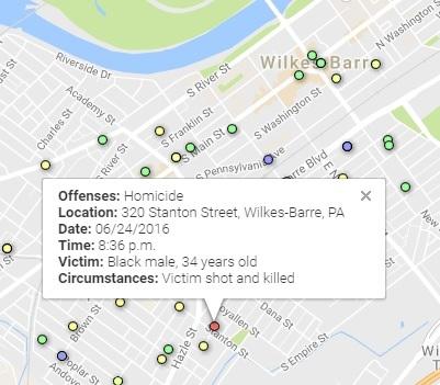 INTERACTIVE Map of violent crime in WilkesBarre 01011663016