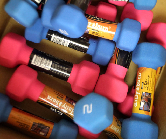 Weights used during the exercise class at the Edwardsville Senior Center.