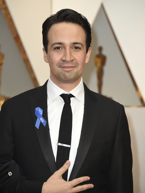 Lin-Manuel Miranda wears an ACLU ribbon as he arrives at the Oscars on Sunday, Feb. 26, 2017, at the Dolby Theatre in Los Angeles. (Photo by Jordan Strauss/Invision/AP)