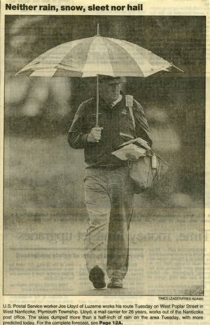 This picture of Joe Lloyd on his route was randomly shot and published by the Times Leader in the 1990s.