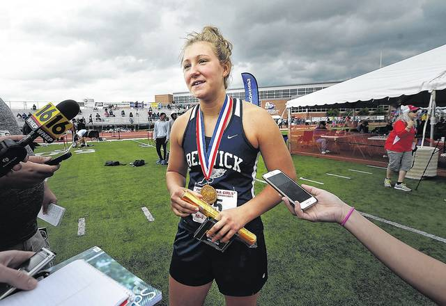 Berwick junior girls Class 3A shot put winner Payden Montana finished with the WVC's only gold, but led the way to 13 state medals won by athletes from the league during the PIAA Track and Field Championships in Shippensburg this weekend.