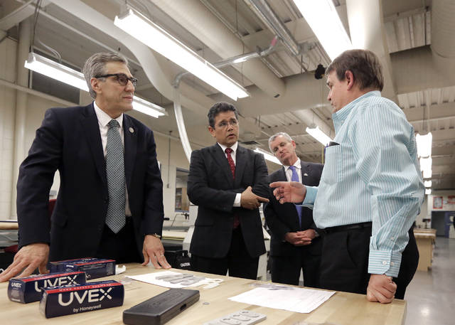 U.S. Rep. Lou Barletta, Left, Greater Wilkes Barre Chamber Of Commerce  President And CEO Wico Van Genderen, And Luzerne County Community College  President ...