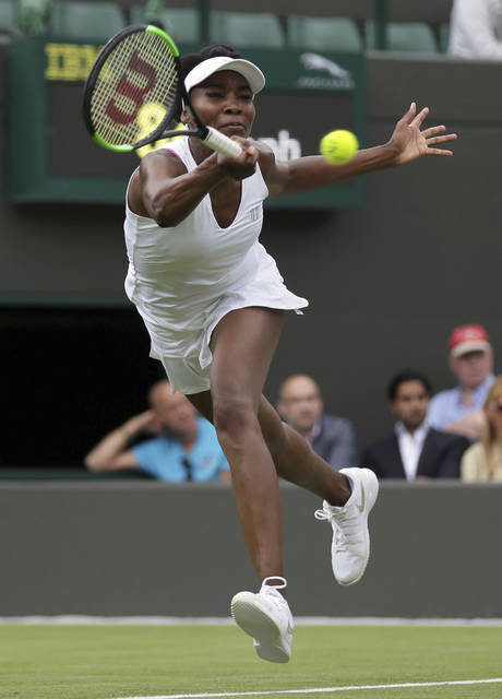 Venus Williams posted a straight-set victory over Elise Mertens in her return to the court on Monday at Wimbledon.