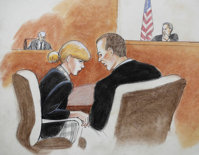 In this courtroom sketch, pop singer Taylor Swift, front left, confers with her attorney as David Mueller, back left, and the judge look on during a civil trial in federal court Tuesday, Aug. 8, 2017, in Denver. Mueller, a former radio disc jockey accused of groping Swift before a concert testified Tuesday that he may have touched the pop superstar's ribs with a closed hand as he tried to jump into a photo with her but insisted he did not touch her backside as she claims.