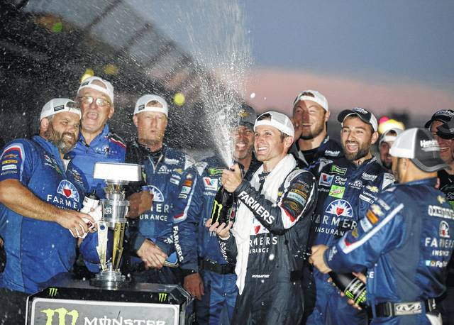 Kasey Kahne, center, was released from the final year of his contract on Monday, allowing him to pursue another Cup ride for 2018.