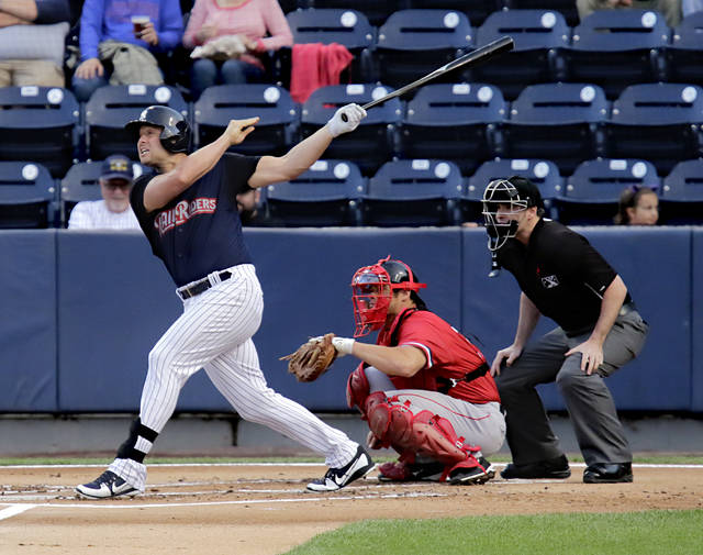 Yankees designated hitter Matt Holliday watches his drive in the first inning against Rochester at PNC Field in Moosic on Wednesday. Holliday was 1 for 3 with two walks in his rehab appearance with the RailRiders.