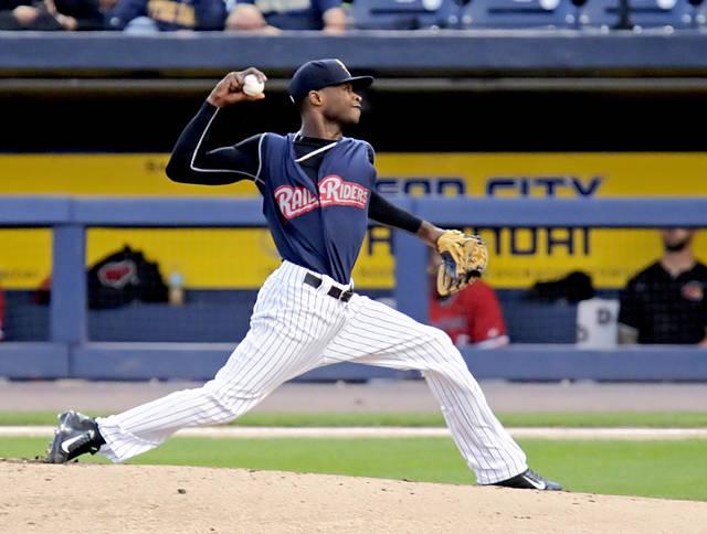 RailRiders starter Domingo German pitches out of a bases-loaded jam in the second inning against Rochester.