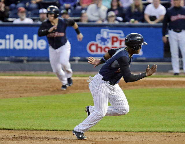 RailRiders third baseman Miguel Andujar takes off from second base against Rochester at PNC Field in Moosic on Wednesday.