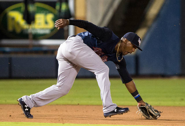 Scranton/Wilkes-Barre third baseman Miguel Andujar fields a ground ball during Tuesday's Game 1 of the Governors' Cup Finals against the Durham Bulls in Durham, N.C.