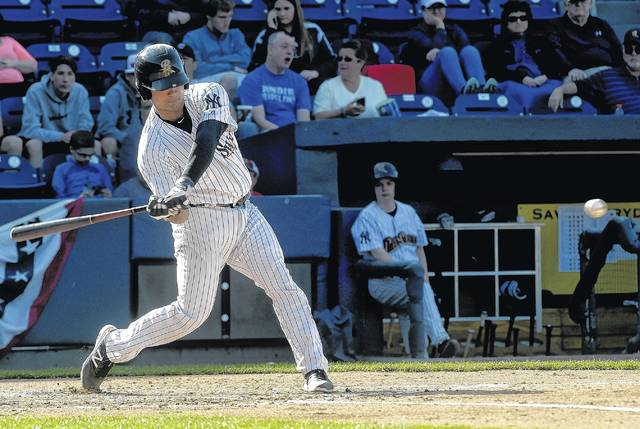 Scranton Railriders' Eddy Rodriguez lines a single during a game last season against the Syracuse Chiefs at PNC Field.