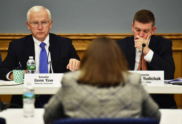 State Sens. Gene Yaw and John Yudichak listen to a testimony by Lisa Daniels, acting deputy secretary for water programs at the Department of Environmental Protection, during a hearing about lead exposure and mitigation at the John P. Cosgrove Center at the Pittston Memorial Library.