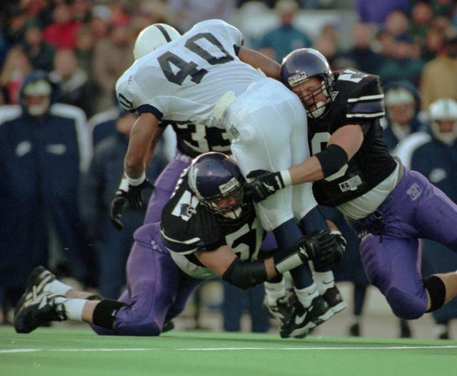 Back in his playing days as a Northwestern linebacker, Wildcats coach Pat Fitzgerald (bottom) went up against plenty of potent Big Ten running games.