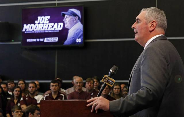 Former Penn State offensive coordinator Joe Moorhead is introduced as Mississippi State's new head coach on Thursday in Starkville.