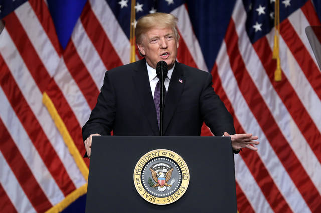 "President Donald Trump speaks on national security Monday, Dec. 18, 2017, in Washington. Trump says his new national security strategy puts ""America First."" (AP Photo/Evan Vucci)"