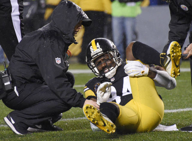 The Pittsburgh Steelers will have to pick up the pieces from an emotional loss to the New England Patriots without Antonio Brown. Coach Mike Tomlin says Brown will miss Pittsburgh's Christmas Day visit to Houston with a contusion on his left calf.