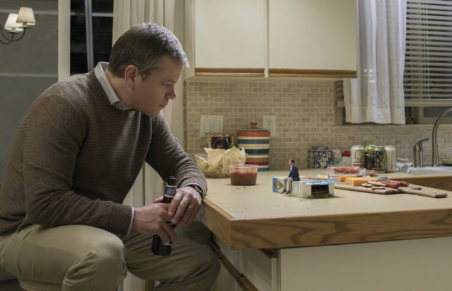 Matt Damon appears in a scene from 'Downsizing,' which tells the story of mild-mannered therapist Paul Safranek and his wife, Audrey, who decide to undergo a process in which scientists shrink people down to miniature size to live in small communities. The irreversible procedure allows you to gain wealth and a life of leisure while helping to cut down on the consumption of natural resources.