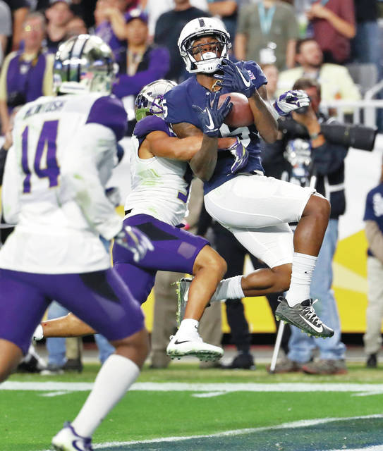 DaeSean Hamilton finished his Penn State career with 214 catches for 2,842 yards and 18 touchdowns, including this one that proved to be the winning score in Saturday's Fiesta Bowl.