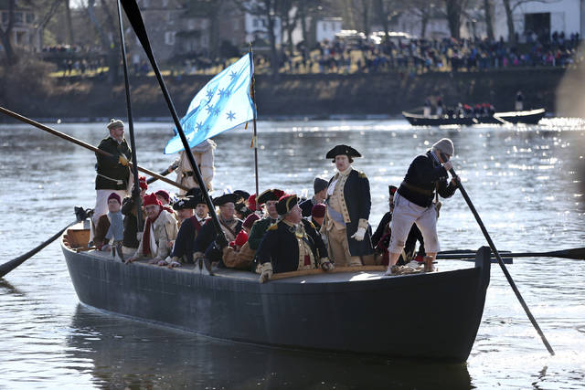 On Dec. 25, 1776, Gen. George Washington and his troops crossed the Delaware River for a surprise attack against Hessian forces at Trenton, N. J., during the American Revolutionary War.