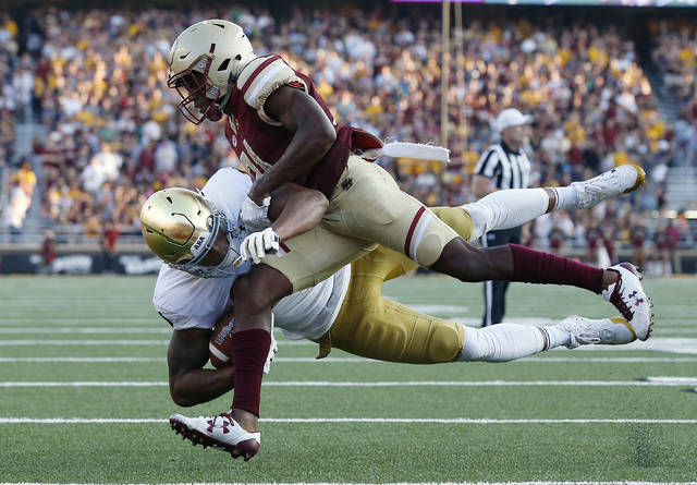 Notre Dame has suspended a third player for the Citrus Bowl against LSU. Junior tight end Alize Mack, bottom, who saw considerable playing time this year after missing the 2016 season because of academic issues, will miss the Jan. 1 game against the Tigers for undisclosed reasons.