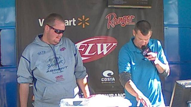 Cody Cutter, seen here during a weigh-in at a BFL tournament last summer, is advancing to the Costa Series next year, a step below the top rung when it comes to pro bass fishing.