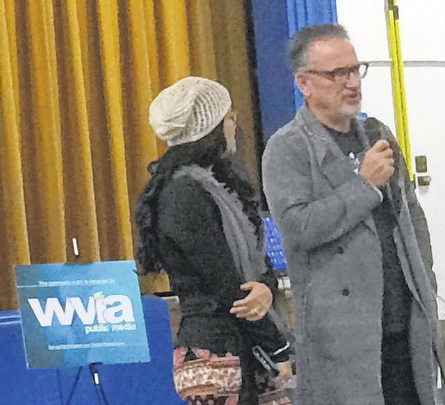With his wife, Jaye, standing at his side, Chicago Cubs Manager and Hazleton native Joe Maddon answers a question from an audience member following the screening of 'American Creed,' a documentary which will air on WVIA and other PBS stations across the county next year. Maddon and Hazleton are featured in the film.