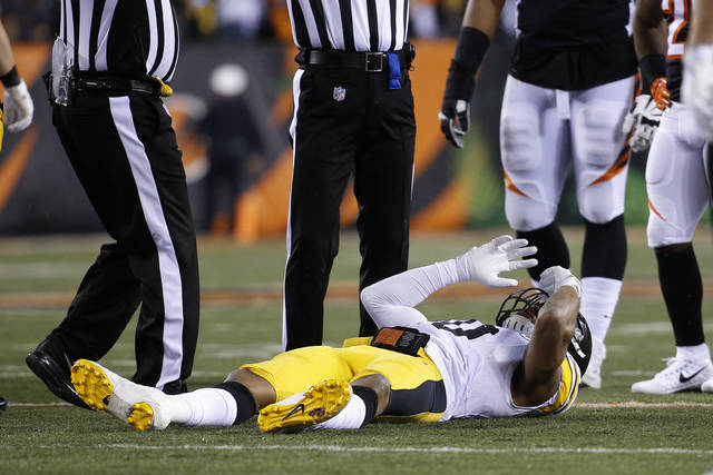 Pittsburgh Steelers inside linebacker Ryan Shazier lies on the field after suffering a spinal injury during the first half of Monday's game against the Cincinnati Bengals.