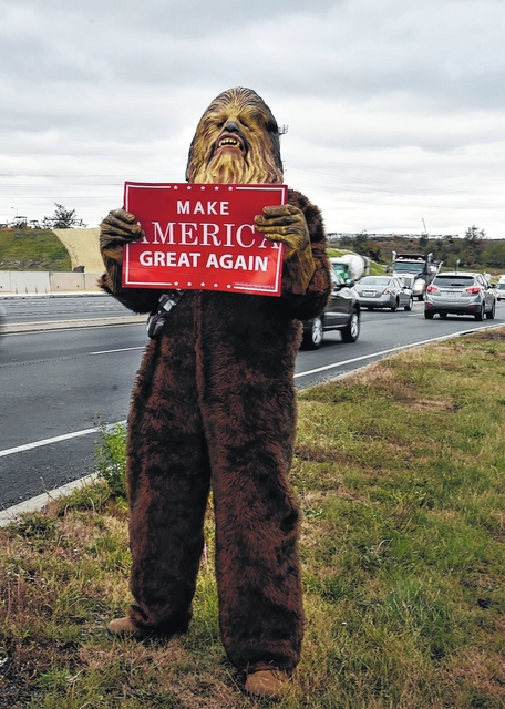 William J. Clarke Jr. dressed as Chewbacca to campaign for Donald Trump.