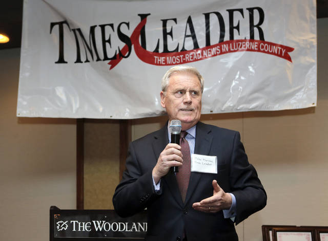 Times Leader Media Group Publisher Mike Murray welcomes guests to the inaugural 'NEPA Best Places to Work' event at The Woodlands Inn in Plains Township on Tuesday. More than 50 local businesses were honored.