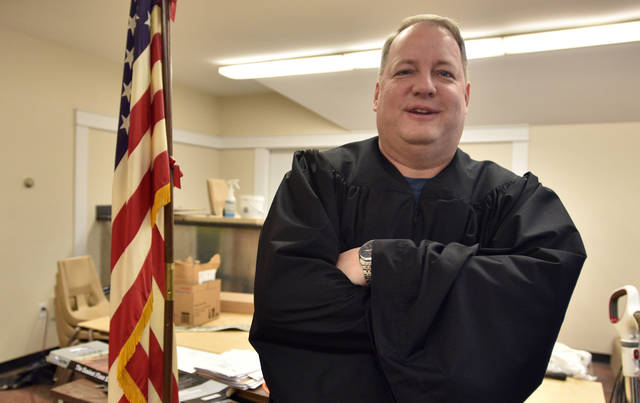 James Haggerty resigned as mayor of Kingston Thursday so he could be sworn in as district judge.
