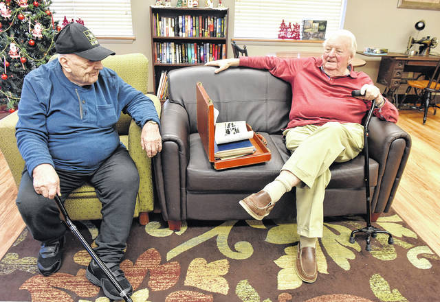 George Nisky, 92, and Earl Watson, 88, talk about their military service. Nisky, left, served as a radio operator during the aftermath of World War II's Battle of the Bulge, and Watson was a writer for the Pacific Stars & Stripes during the Korean War era.