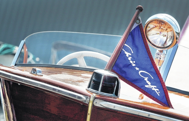 A 1947 Chris Craft Sportsman owned by Joe Kozlosky of Sweet Valley one of several Chris Craft boats at the Harveys Lake Vintage Boat Shopw ----------------Fred Adams|for Times Leader 8-20-16