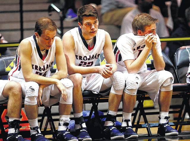 Nanticoke Area players Zack Cardone (left), Luke Butczynski (center) and Cody Piestrak were part of the inspired postseason play that helped lift the Trojans into the PIAA Class 4A semifinal game.