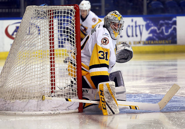 Penguins goalie Sean Maguire kept his team in the game into the third period on Friday despite Charlotte's edge in shots.