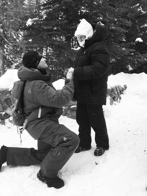 Josh Darnell, of Londonderry, N.H., proposes to Rachel Raske, of Lowell, Mass., on Thursday in Tuckerman's Ravine, New Hampshire, on the same day the temperature dropped to minus-34 on nearby Mount Washington. Raske said yes.