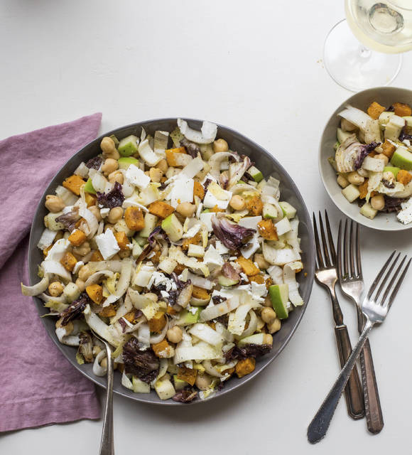 In this salad, beautiful, sweet, orange, butternut squash gets roasted with some slightly — but appealingly — bitter radicchio.