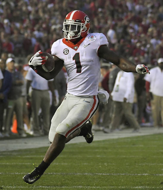 Georgia has one of college football's top tailback duos in Sony Michel (1) and Nick Chubb. Alabama counters with the nation's No. 1 run defense and an offense with Damien Harris leading another deep backfield.