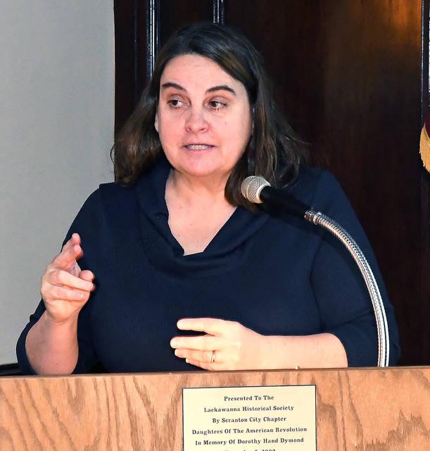 Mary Ann Savokinus, Lackawanna County Historical Society director, served as moderator for Sunday's program.