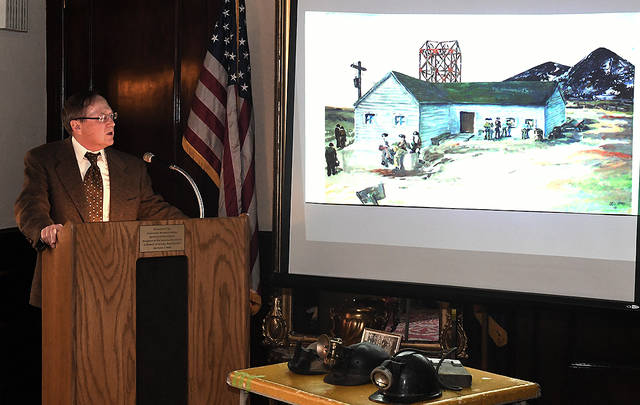 Charles Kumpas presented 'A Day in the Life of an Anthracite Miner: The Remarkable Coal Mining Artwork of Remo Trieste Russo,' at the Catlin House in Scranton on Sunday.