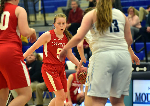 Crestwood point guard Sara Hopkins plans her next move during a game against Dallas.