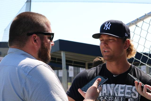 ac65fe563fb Scranton Wilkes-Barre RailRiders starting pitcher Chance Adams talks to the  media prior to