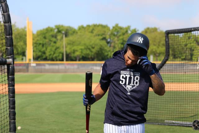 Scranton Wilkes-Barre RailRiders infielder Gleyber Torres wipes his brow during batting practice prior Sunday's spring training game against the Buffalo Bisons at the New York Yankees minor league complex in Tampa, Fla.