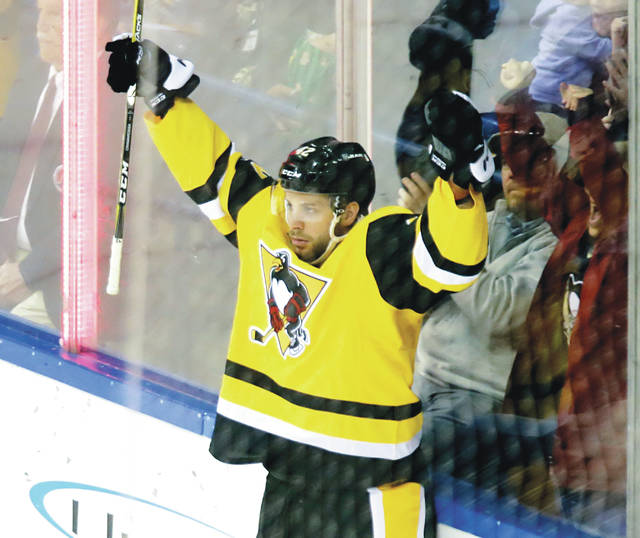 2f92dede4 Wilkes-Barre Scranton Penguins right wing Joseph Cramarossa celebrates  after scoring a goal against