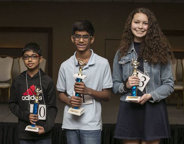 2018 Spelling Bee Winners  Second Place Aditya Panikkath, 10 of Wilkes-Barre, First Place Abhinav Palle, 13 of South Abington Township and Third Place Jessie Miller, 14 of Shavertown. Amanda Hrycyna|For Times Leader
