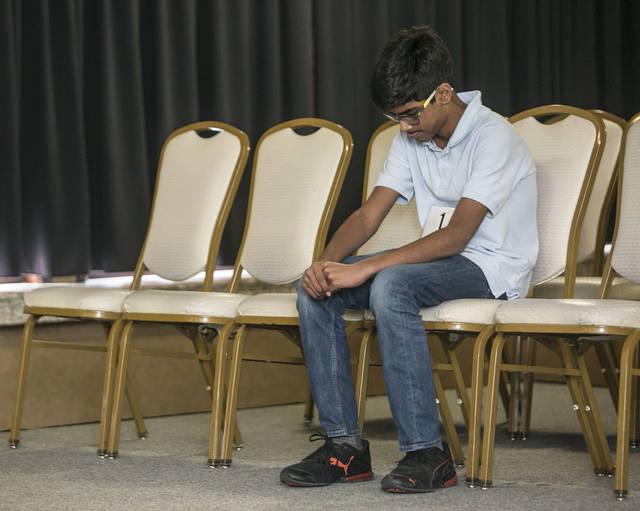 Abhinav Palle, 13 of Abington Heights Middle School, waits for his turn on Sunday.