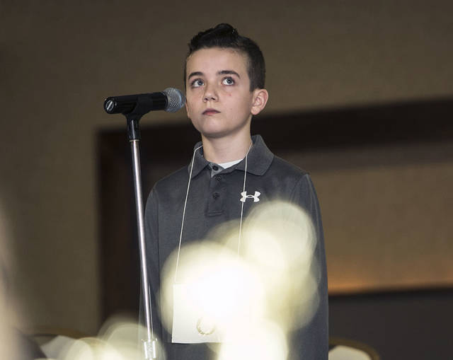 Dominic Bernardi, 12, of Pittston Area Middle School, takes a moment to think over his answer. Dominic Bernardi, 12, of Pittston Area Middle School, takes a moment to think over his answer.